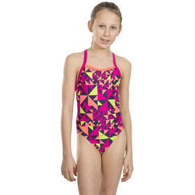 speedo Fluotime Allover Thinstrap Crossback Swimsuit Piger, pink/fluoorange/navy/lime